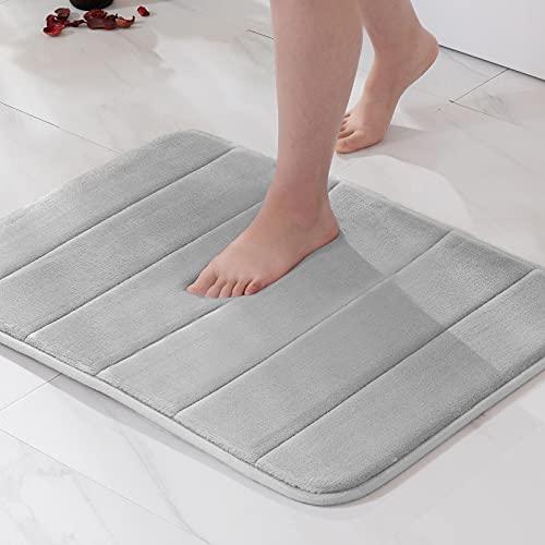 MIULEE 1 Pieza Alfombra de Baño Microfibra Antideslizante Alfombra Absorbente para Baño Dormitorio Pasillo Sala de Estar Cocina 50x80cm Gris Claro