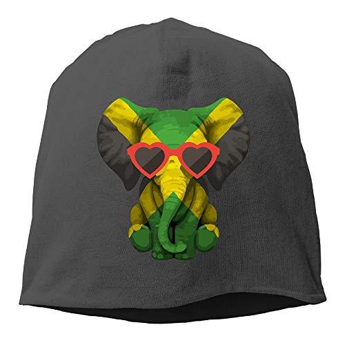NA Elefant mit Brille, Jamaikanische Flagge, Wintermütze mit Totenkopf, warm, gestrickt