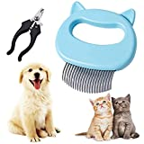 Cat Comb&Pet Shedding Brush for Cat Grooming Cat Massaging Comb,Deshedding Comb for Puppy Dog Rabbit, Painless Cat Hair Brush for Little Pet (COMB WITH NAIL CLIPPERS)