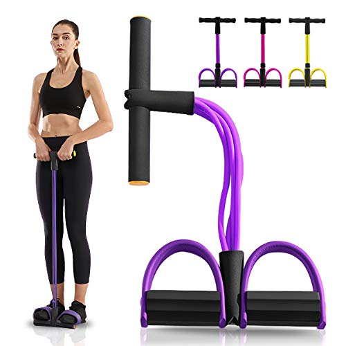 Slimerence Upgrade Pedal Resistance Band, 4-Tube Elastic Pull Rope Fitness Sit-up Equipment, Fitness Bodybuilding Expander for Abdomen Waist Leg Stretching Slimming Home Fitness Purple