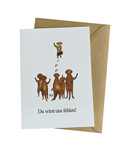 Herzfunkeln® Kollegen Abschiedskarte in DIN A6 mit Umschlag aus Recyclingpapier - Du wirst uns fehlen - Grußkarte zu Renteneintritt, Ruhestand & Jobwechsel als Abschiedsgeschenk für Kolleginnen