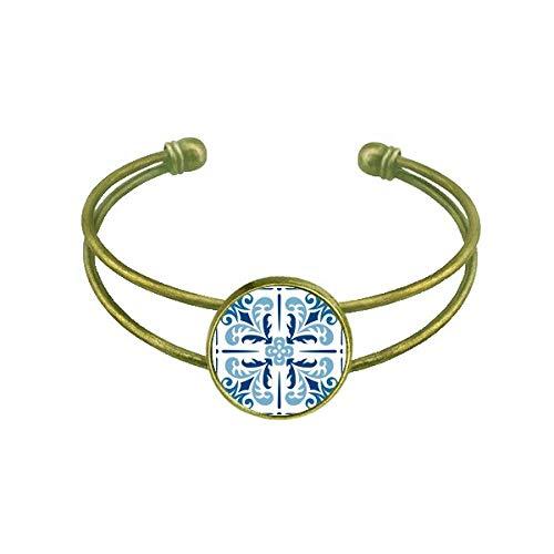 DIYthinker Blau Marokko Deko Blume Ilustration Armband Armreif Retro Offene Manschette Schmuck