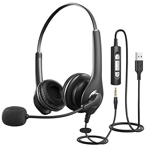 PC-Headset mit Mikrofon,300°drehbares Headset zur Geräuschreduzierung,USB/3,5mmChat Headset für Skype,Business-Headset mit Lautstärkeregelung,Webinar,Homeoffice,Superleicht,Ultra Komfort
