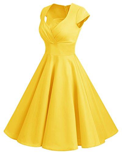bbonlinedress bbonlinedress 1950er Vintage Retro Cocktailkleid Rockabilly V-Ausschnitt Faltenrock Yellow S