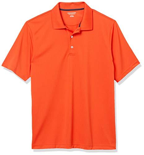Amazon Essentials Herren Poloshirt Regular-fit Quick-dry Stripe Golf Polo Shirt, Orange, L