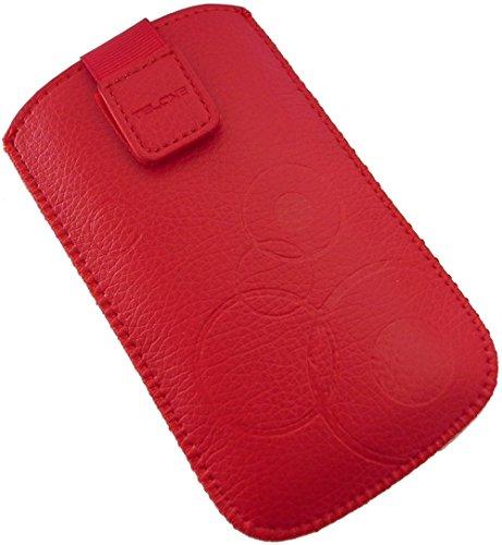 Handyschale24 Slim Hülle für Emporia Telme X200 Handyschale Rot Schutzhülle Tasche Cover Etui mit Klettverschluss