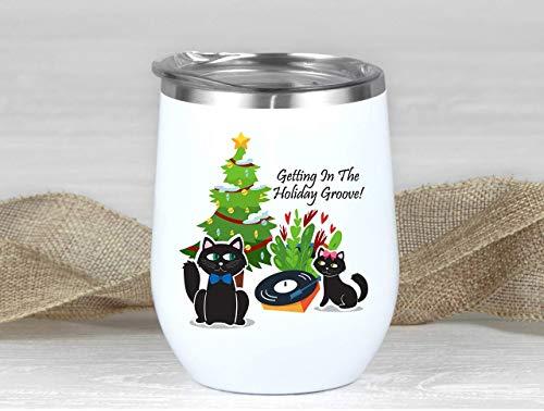 Vaso de vino de acero inoxidable con aislamiento retro, para amantes de los gatos, ideal como regalo de Navidad, para viajes, vino de Navidad