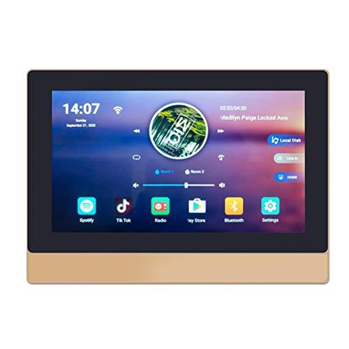 WUHUAROU Soporte 5G WiFi Bluetooth Amplificador De Pared Android 8.1 Smart Home Power Audio Sistema De Música Reproductor De Pantalla HD De 7'Conectar A TV (Color : Gold)