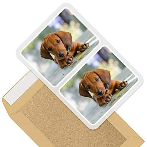 Pegatinas rectangulares impresionantes (juego de 2) 10 cm – Dachshund Puppy Dog Brown Pet Fun calcomanías para ordenadores portátiles, tabletas, equipaje, chatarra, neveras, regalo fresco #44827