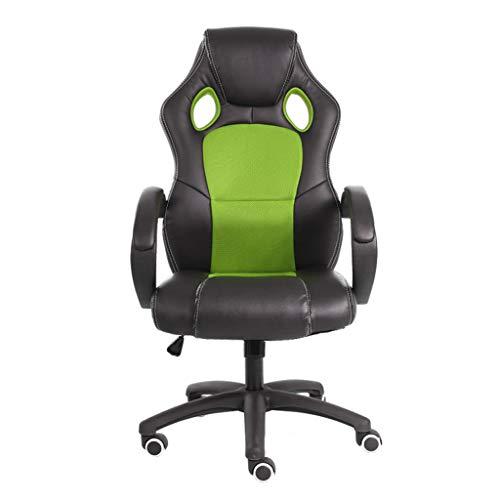 Kantoorstoel, Racing Pc Game Chair met kantelfunctie en verdikte armleuningen Ergonomische draaibare stoel Pu Leather Executive Ch Groen