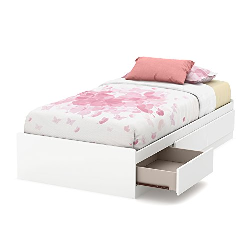 "South Shore 39"" Callesto Mates Bed with 3 Drawers, Twin, Pure White"