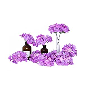 LI HUA CAT Artificial Flowers 10pcs Artificial Hydrangea Silk Centrepieces and Arrangement Real Touch Flowers for Home Decor Wedding Parties (Purple)