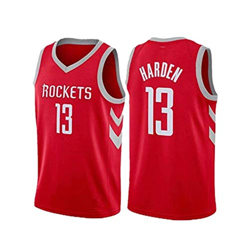 HANJIAJKL Basket Jersey,Maglia Swingman Ricamata,Stile di Abbigliamento Sportivo,James Harden, Houston Rockets #13,Red a,S