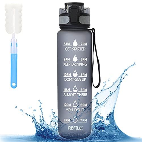 MBMT 1 Litro Botella De Agua Deportiva,Botella Para Tritan Sin BPA Con Filtro, Botella De Agua A Prueba De Fugas Con Marcador De Tiempo Motivacional