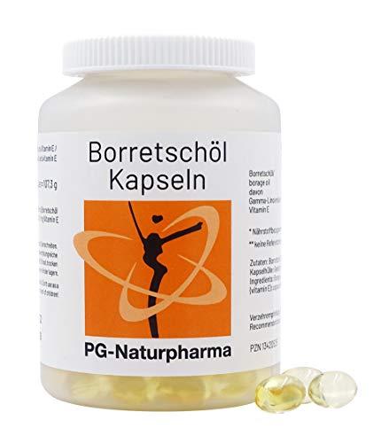 Olio di borragine - 150 capsule contenenti 500 mg di olio di borragine ciascuna - con acidi grassi omega-6, vitamina E e acido gamma-linolenico