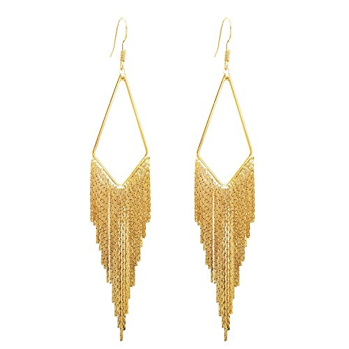SELOVO Long Dangly Tassel Earrings Fish Hook Boho Bohemian Gold Tone Dangle Earrings