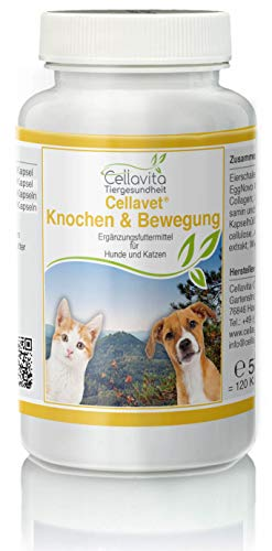 Cellavita Knochen & Bewegung für Hunde & Katzen (Eierschalenmembran-Pulver, Ackerschachtelhalmextrakt, Weihrauchextrakt) (120 Kapseln)
