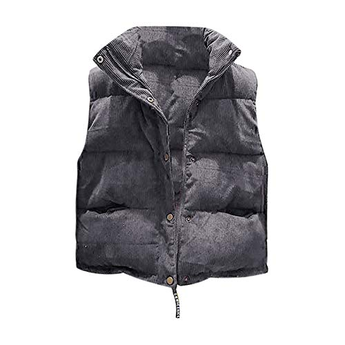 Damen Daunen-Weste Stepp-Jacke Waistcoat Frau Weste Gilet Jacke Mantel Outwear Solid Warm halten Tops (Grau,Grau)