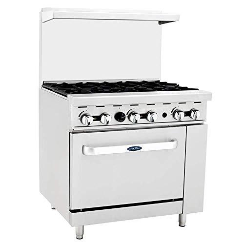"CookRite ATO-6B Commercial Manual Liquid Propane Range 6 Burner Hot Plate With Standard Oven 36"" - 165000 BTU"