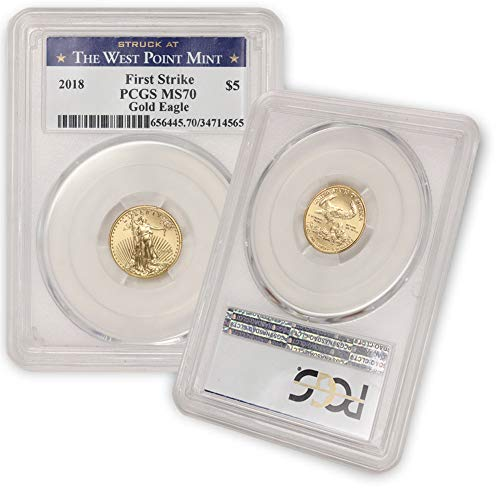 2018 1/10 oz Gold American Eagle MS-70 (First Strike – Struck at The West Point Mint) by CoinFolio $5 MS70 PCGS