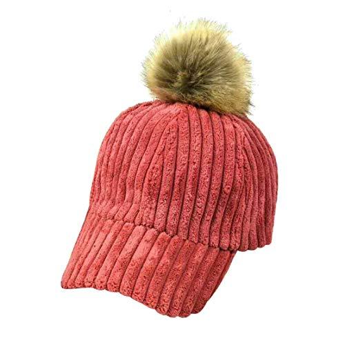 Yue Lian Damen Winter warm Schirmmützen Wollmütze Bommelmütze Baseball Cap mit Bommel(Wassermelone rot)