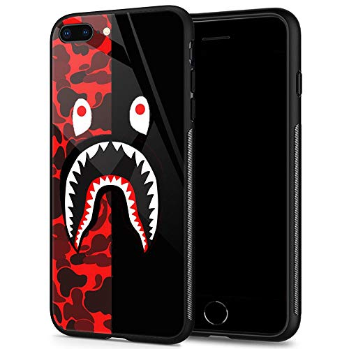 Goodsprout iPhone 8 Plus Case,Shark Face iPhone 7 Plus Cases for Girls Lady Men Boy Shockproof Anti-Scratch Case for Apple Cases for Apple 78 Plus 5.5-inch (Red Black Camo)