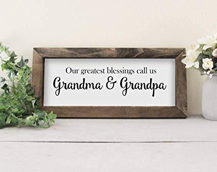 Tekenen Grootouder Gift Onze Grootste Blessings Bel ons Oma en Opa Grappige Aangepaste grappige Omlijst Houten Muur Grappige Aangepaste grappige Boerderij Stijl Grappige Aangepaste grappige
