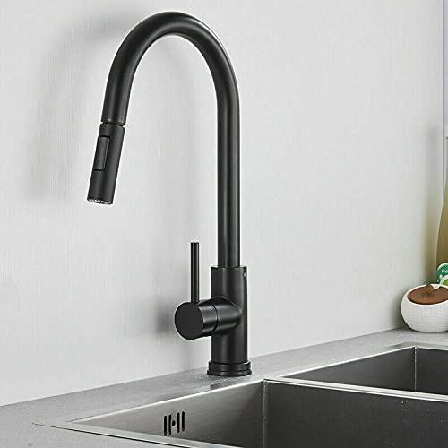Grifo de cocina 304 Acero inoxidable extraíble Sensor táctil Grifo de agua Inducción inteligente Mezclador de agua fría y caliente Grifos para fregadero, Negro, China