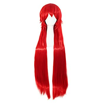 MapofBeauty Red Long 80cm Straight Costume Party Cosplay Wig