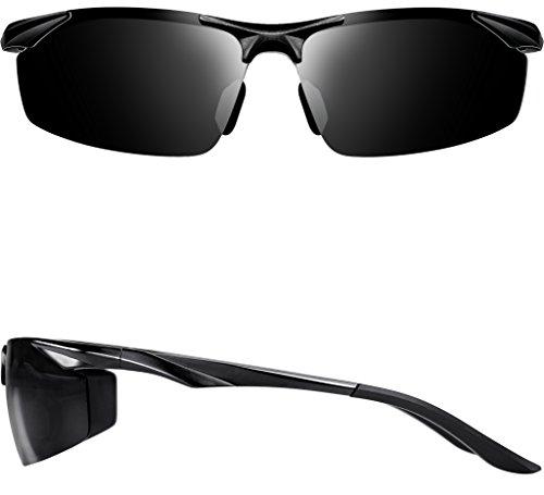 ATTCL Men's Sports Polarized Sunglasses Driver Golf Fishing Al-Mg Metal Frame 2206 Black