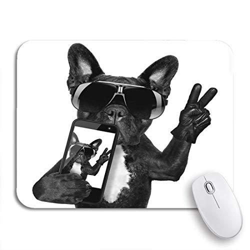 Gaming Mouse Pad Hund Französische Bulldogge unter Selfie Cool Fancy Sonnenbrille Lustige rutschfeste Gummiunterlage Mousepad für Notebooks Computer Mausmatten