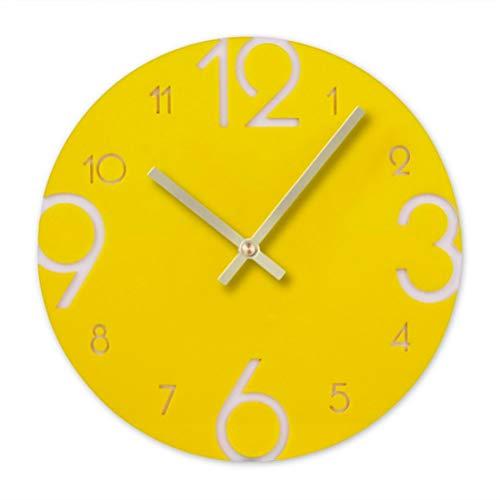 VOSAREA Orologio da parete in acrilico giallo, design moderno, orologio da parete rotondo, silenzioso