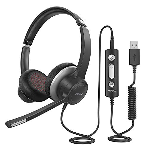 Mpow HC6 USB Headset with Microphone, Comfort-fit Office Computer Headphone, On-Ear 3.5mm Jack Call Center...