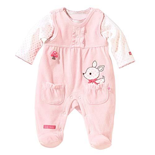 Bornino Strampler-Set REH (2-TLG) - Baby-Overall für Mädchen aus weichem Nicki - mit Druckknöpfen in Schulter- & Schrittbereich - rosa
