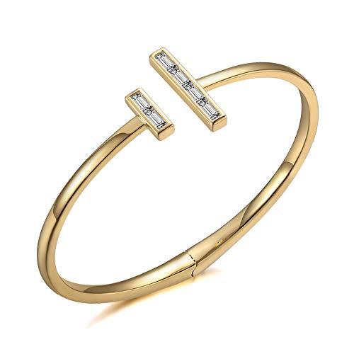 Italina Bangle voor Damesmode Armband Sieraden Dubbele T Armband Trouwring voor Dames Meiden Verjaardag Verjaardagscadeau