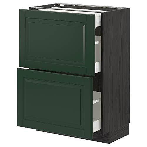 METOD/MAXIMERA Unterbaukabine mit 2 Fronten / 3 Schubladen 60x39,5x88 cm schwarz/Bodbyn dunkelgrün