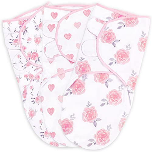 Swaddle Blanket, Baby Swaddle Wrap for Infant (0-3 Month), Adjustable Newborn Swaddle Set for Baby Girls, 3-Pack Soft Organic Cotton