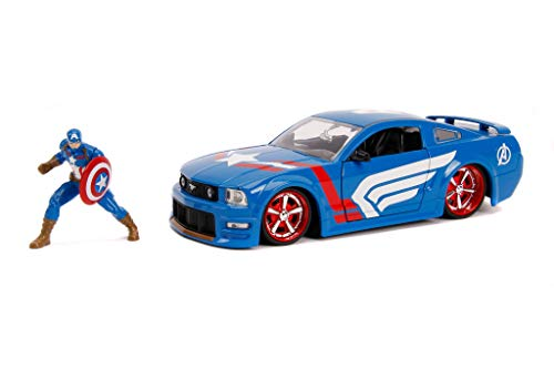 Jada Toys Marvel Captain America & 2006 Ford Mustang Die-Cast Car, 1:24 Scale Vehicle with 2.75 Die-Cast Collectible Figure 31187