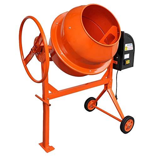 Hormigonera de hormigón, 140 L, 650 W, hormigonera eléctrica, amasadora eléctrica de cemento para mezclar hormigón, mortero y hormigón, mezclador de cemento con 2 ruedas robusto marco de acero