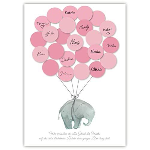Pandawal Kinderzimmer Deko Mädchen Elefant Gästebuch Alternative Set (Rosa) Gastgeschenk zum...
