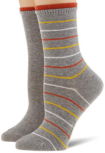 ESPRIT Damen Easy Stripe 2-Pack Socken, grau (Light Grey 3400), 35-38 (UK 2.5-5 Ι US 5-7.5) (2er Pack)
