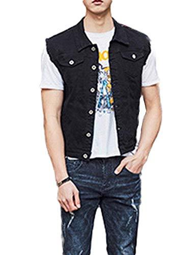 Heren lente jeansjas omslagkraag vest cowboy gilets casual jongens button mouwloos jeansmantel outdoor jassen