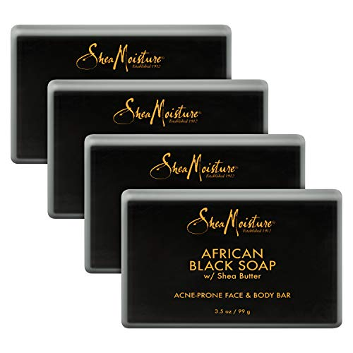SheaMoisture Face and Body Bar for Oily, Blemish-Prone Skin African Black Soap Paraben Free 3.5 oz 4 Count, facial cleanser