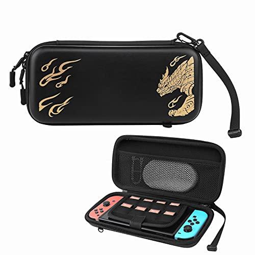 Switch Lite Tragetasche-Neueste Switch Monster Hunter Sires Hartschalentasche mit Schultergurt f¡§1r Nintendo Switch Lite Konsole & Zubeh?r mit 8 Spielkassetten
