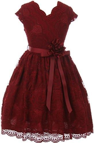 Flower Girl Dress Curly V Neck Rose Embroidery AllOver for Big Girl Burgundy 12 JKS 2066 product image