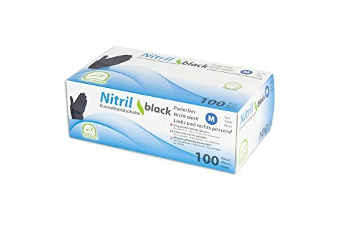 MEDI-INN Nitril black plus Einweghandschuhe Größe L | 100 Stück | Nitrilhandschuhe schwarz in praktischer Spenderbox | puderfrei & latexfrei