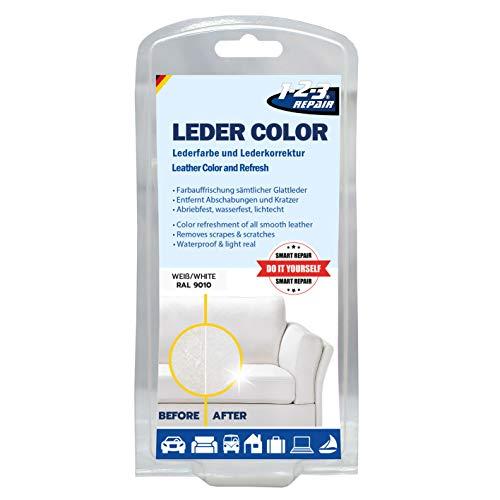 1-2-3 REPAIR 123Repair Lederfarbe für Leder | Lederpflege | Tasche Schuh färben | Weiß