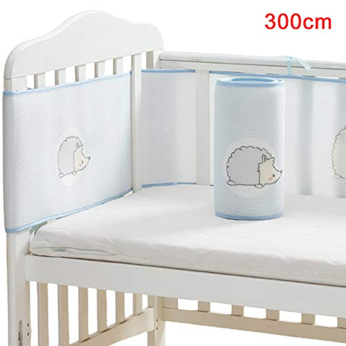 Baby Safe Crib Bumper, Soft Breathable Baby Boys Girls Mesh Nursery Crib Liner, for Nursery Bed Safe Crib Guards Protector, 150x28cm/ 300x28cm