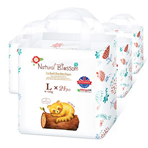 Natural Blossom Pull Up Pants Baby Diapers Size 4 (20-31lbs) 96 Count, Super Soft Hypoallergenic Ultra-Slim Disposable Diaper for Sensitive Skin