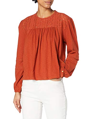 Superdry Lace Detroit LS Top Camisa túnica, Burnt Orange, 6 para Mujer